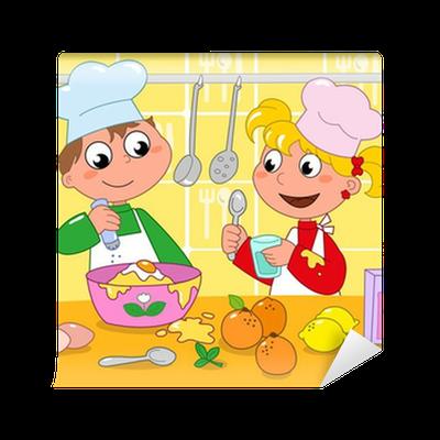 Carta da parati bambini che cucinano con tanti ingredienti - Bambine che cucinano ...