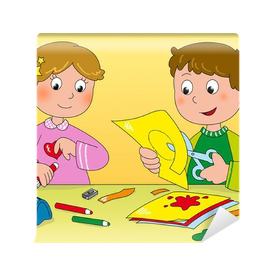 Carta da parati bambini che giocano con carta forbici for Colla da parati