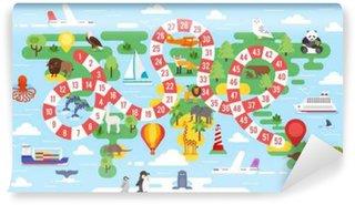 Carta da Parati in Vinile Bambini mondo gioco da tavolo giro