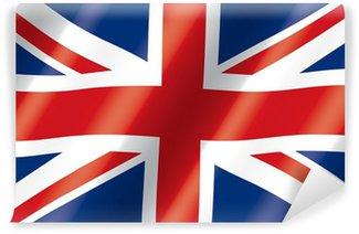 Carta da Parati in Vinile Bandiera del Regno Unito Flowing