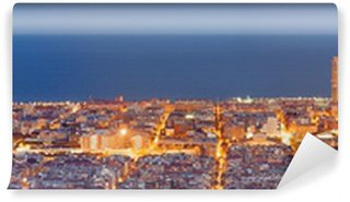 Carta da Parati in Vinile Barcelona skyline panorama al Blue Hour