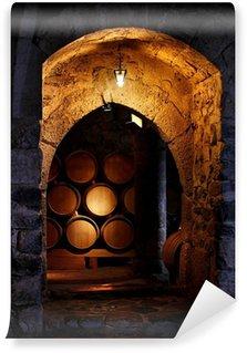 Carta da Parati in Vinile Barile di vino in winerry.