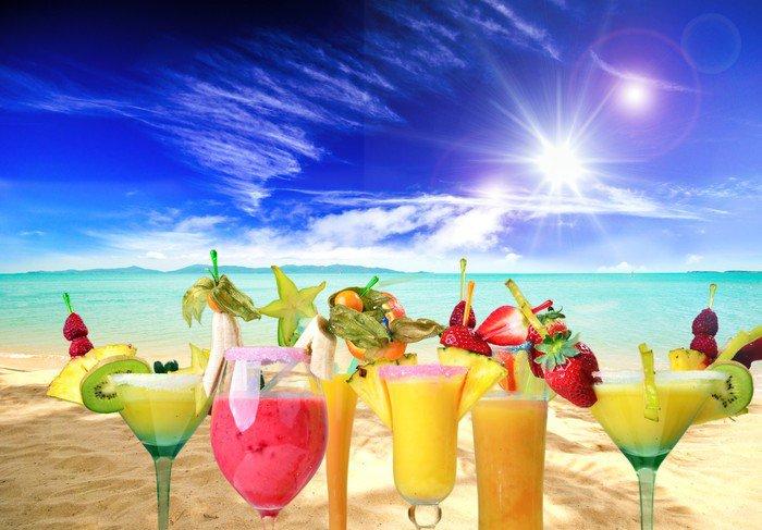 Carta da parati in vinile beach bar cocktail sulla for Carta da parati bar