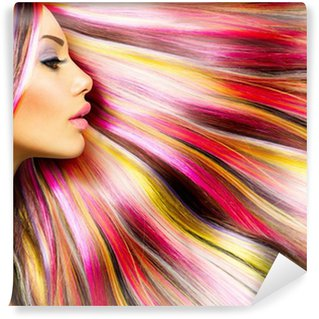 Carta da Parati in Vinile Beauty Fashion Model Girl with Colorful Capelli tinti