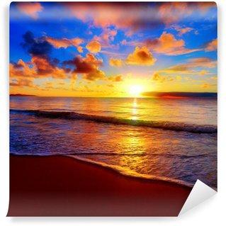 Carta da Parati in Vinile Bel tramonto tropicale sulla spiaggia