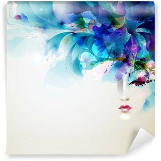 Carta da Parati in Vinile Belle donne astratte con elementi di disegno astratto