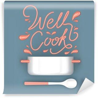 Carta da Parati in Vinile Bene cucinare citazione con vaso moderno rendering 3D illustrazione 3D
