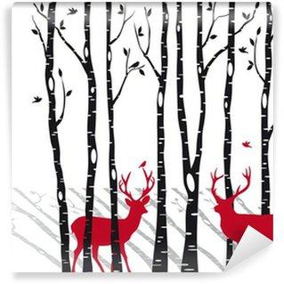 Carta da Parati in Vinile Betulle Natale con cervi, vettore