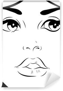 Carta da Parati in Vinile Bianco e nero donna faccia schizzo di close-up