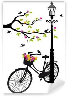 Carta da Parati in Vinile Bicicletta con lampada, fiori e alberi, vettore