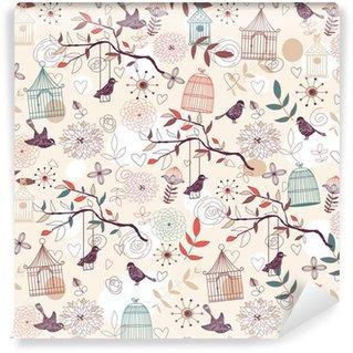Carta da Parati in Vinile Birds pattern