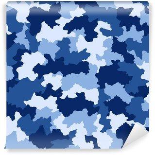 Carta da Parati in Vinile Blu seamless pattern mimetica