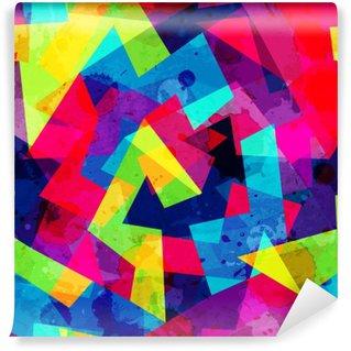 Carta da Parati in Vinile Brillante disegno geometrico senza soluzione di continuità con effetto grunge