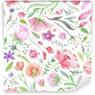 Carta da Parati in Vinile Brillante Vintage Acquerello summer Pattern