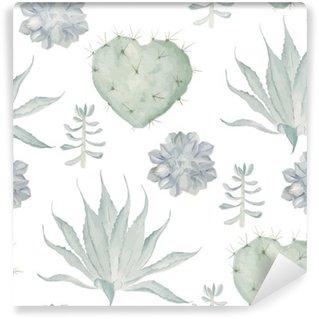 Carta da Parati in Vinile Cactus stampa acquerello. Seamless pattern