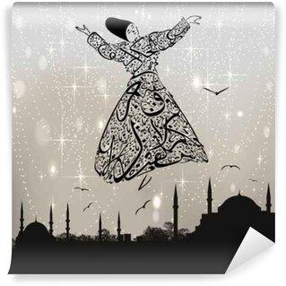 Carta da Parati in Vinile Calligrafia derviscio e moschee di Istanbul