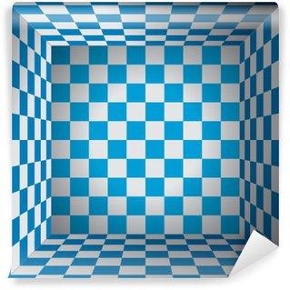 Carta da Parati in Vinile Camera a quadri, cellule blu e bianco, scatola di scacchi 3d, oktoberfest vettore disegno di sfondo