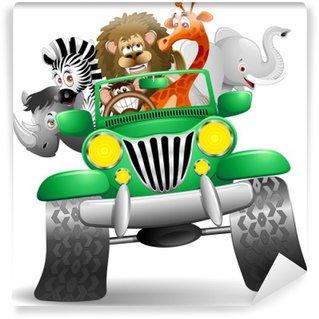 Carta da Parati in Vinile Caprecora con Animali Selvaggi Cartoon-Savannah Wild Animals On Jeep