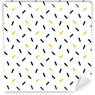 Carta da Parati in Vinile Carino in bianco e confetti oro, disegno geometrico senza soluzione di sfondo.