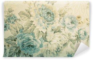 Carta da Parati in Vinile Carta da parati dell'annata con il blu modello vittoriano floreale