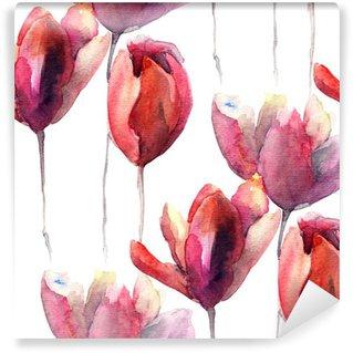 Carta da Parati in Vinile Carta da parati senza soluzione di continuità con i tulipani fiori