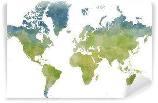 Carta da Parati in Vinile Cartina mondo, Disegnata illustrata pennellate