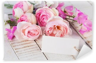 Carta da Parati in Vinile Cartolina con fiori estivi e tag vuoto