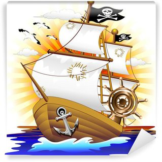 Carta da Parati in Vinile Cartoon Pirate Ship Nave Pirata - Vector