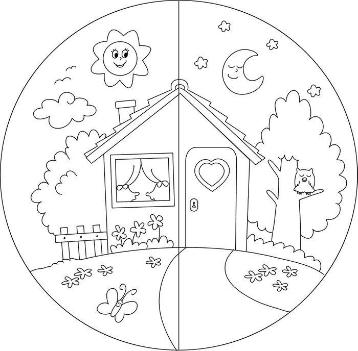 Carta da parati in vinile casa di campagna giorno e notte for Carta parati vinile