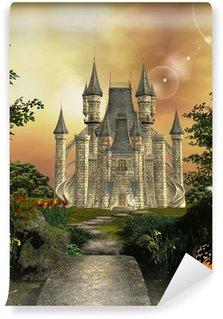 Carta da Parati in Vinile Castello in un giardino incantato