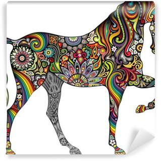 Carta da Parati in Vinile Cavallo e Rainbow