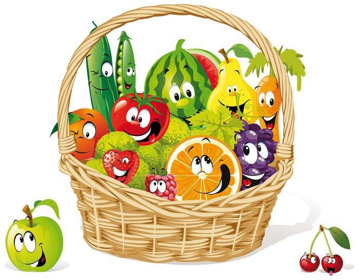 Carta da parati in vinile cesto di frutta e verdura felice for Carta parati vinile