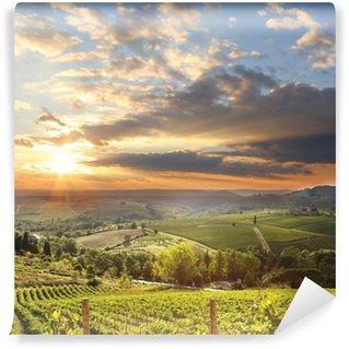 Carta da Parati in Vinile Chianti paesaggio vigneto in Toscana, Italia