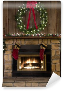 Carta da Parati in Vinile Christmas Fireplace Hearth con corona e calze
