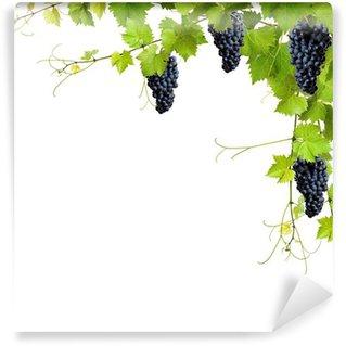 Carta da Parati in Vinile Collage di foglie di vite e uva blu
