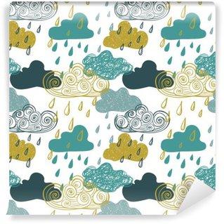 Carta da Parati in Vinile Colorato Seamless Pattern of Rain Clouds.
