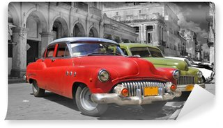 Carta da Parati in Vinile Colorful Havana panorama auto