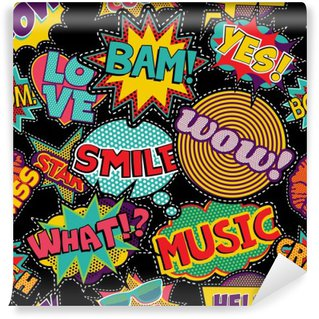 Carta da Parati in Vinile Comic pop art punto di patch seamless