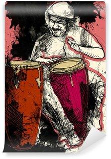Carta da Parati in Vinile Conga giocatore - una mano disegnato illustrazione del grunge