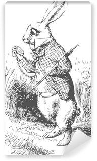 Carta da Parati in Vinile Coniglio bianco con orologio Alice Wonderland