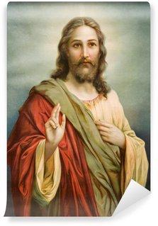 Carta da Parati in Vinile Copia della tipica immagine cattolica di Gesù Cristo