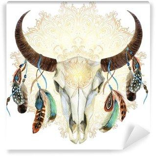Carta da Parati in Vinile Cranio mucca acquerello con piume