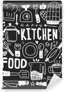 Carta da Parati in Vinile Cucina elementi scarabocchi mano linea tracciata icona, eps10