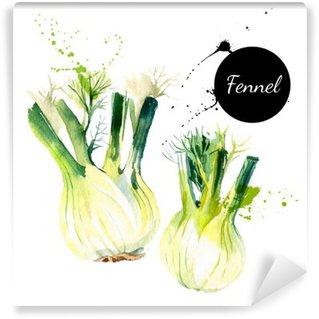 Carta da Parati in Vinile Cucina erbe e spezie banner. Illustrazione vettoriale. Acquerello
