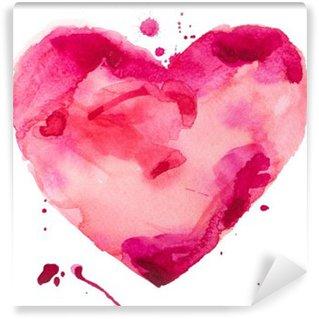 Carta da Parati in Vinile Cuore acquerello. Concept - amore, relazioni, arte, pittura
