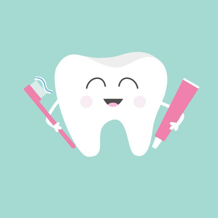 Carta da parati in vinile dente tenendo dentifricio e