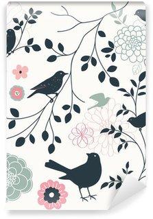Carta da Parati in Vinile Di uccelli e fiori
