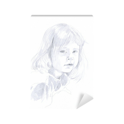 Carta da parati disegno a matita bambino bambina for Carta parati bambina