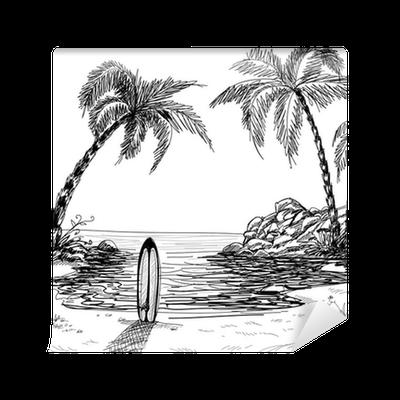 Carta da parati disegno paesaggio marino con palme e for Disegno paesaggio marino