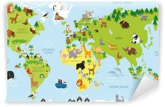 Carta da Parati in Vinile Divertente mappa del mondo del fumetto con gli animali tradizionali di tutti i continenti e gli oceani. illustrazione vettoriale per l'istruzione prescolare e bambini Design
